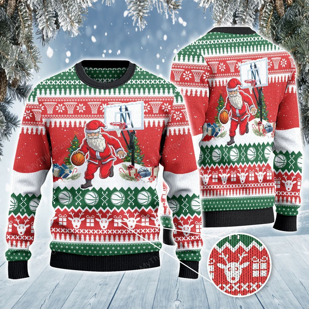 Basketball Lovers Gift Santa Dribble All Over Print Ugly Sweater