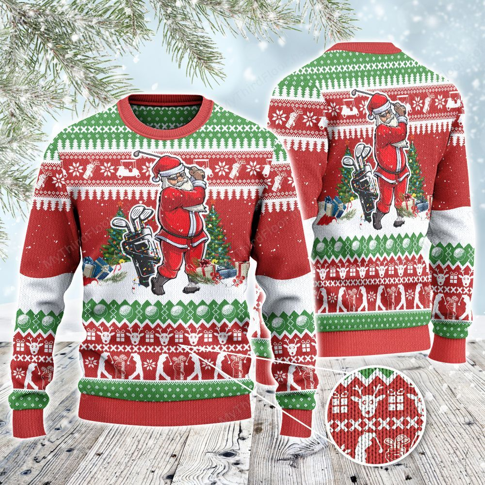 Golf Lovers Christmas Gift Santa Playing All Over Print Ugly Sweater