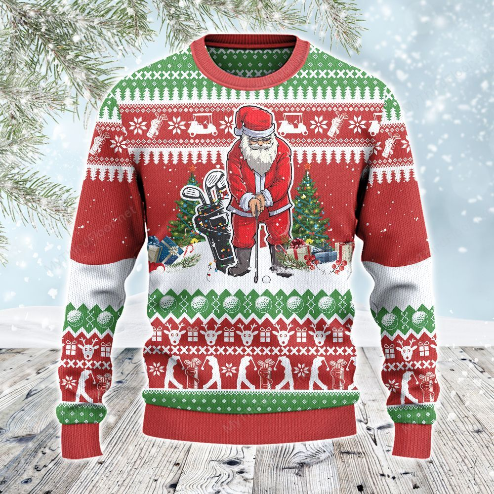 Golf Lovers Gift Santa Playing All Over Print Sweater