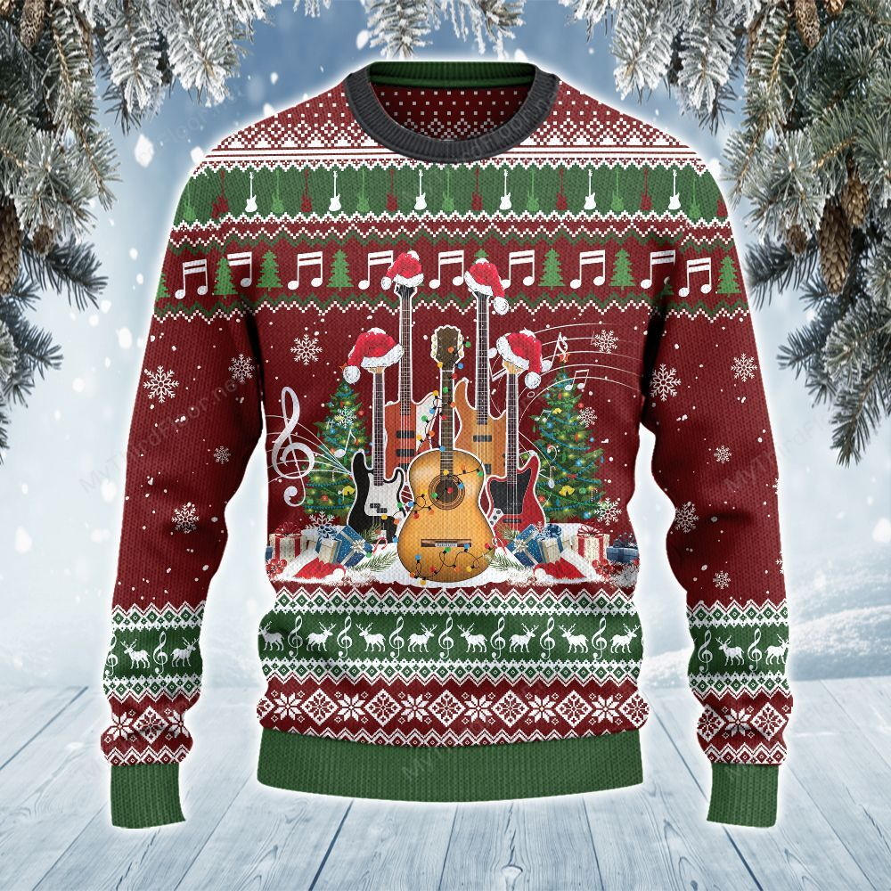 Guitar Lovers Gift Merry Christmas All Over Print Ugly Sweater