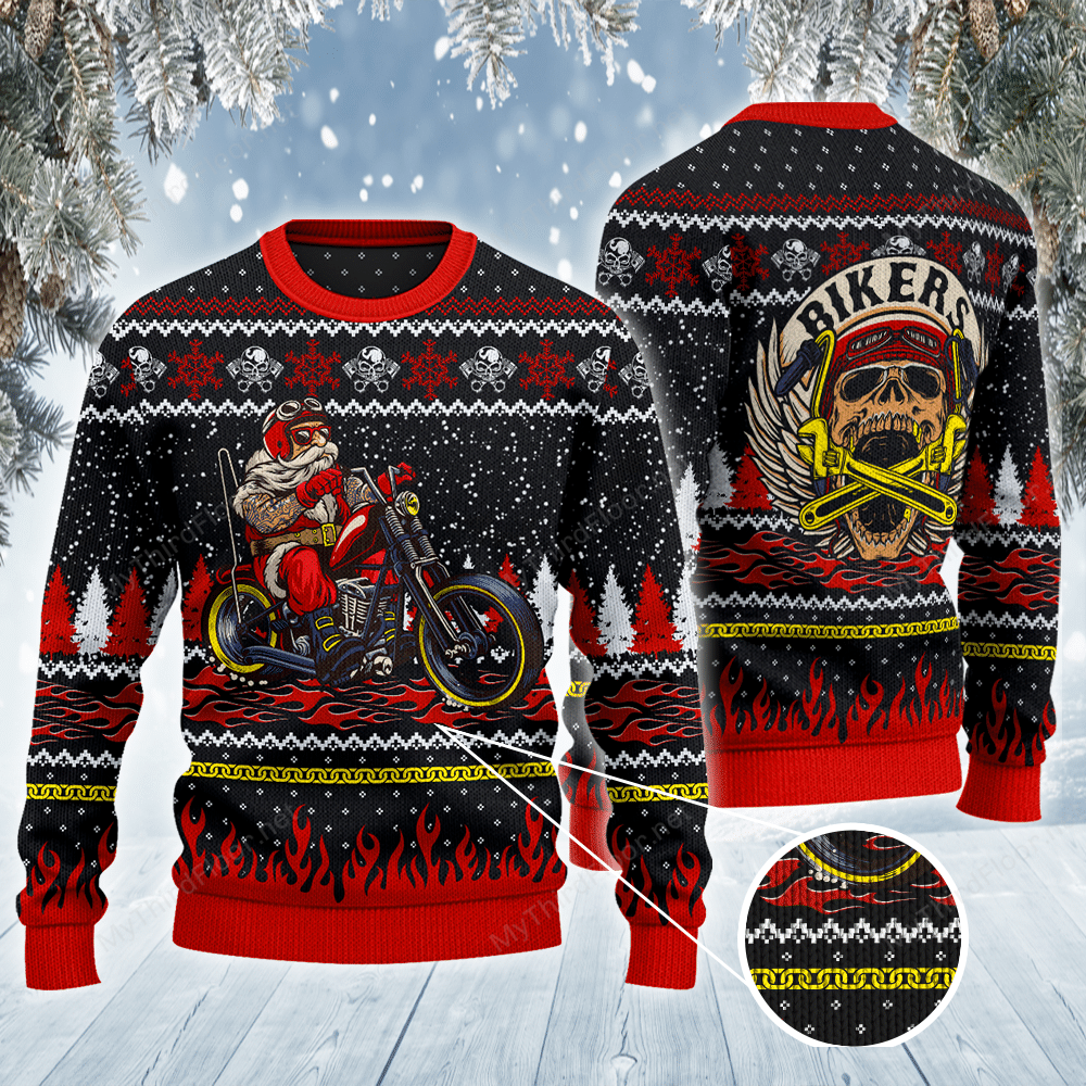BIKER MOTORCYCLE Santa All Over Print Christmas Ugly Sweater