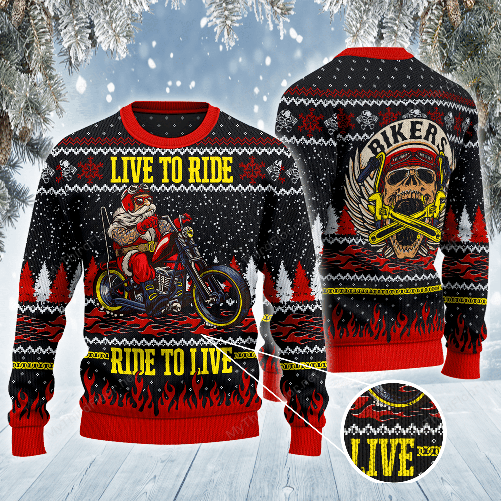MOTORCYCLE Santa Live to ride All Over Print Ugly Sweater