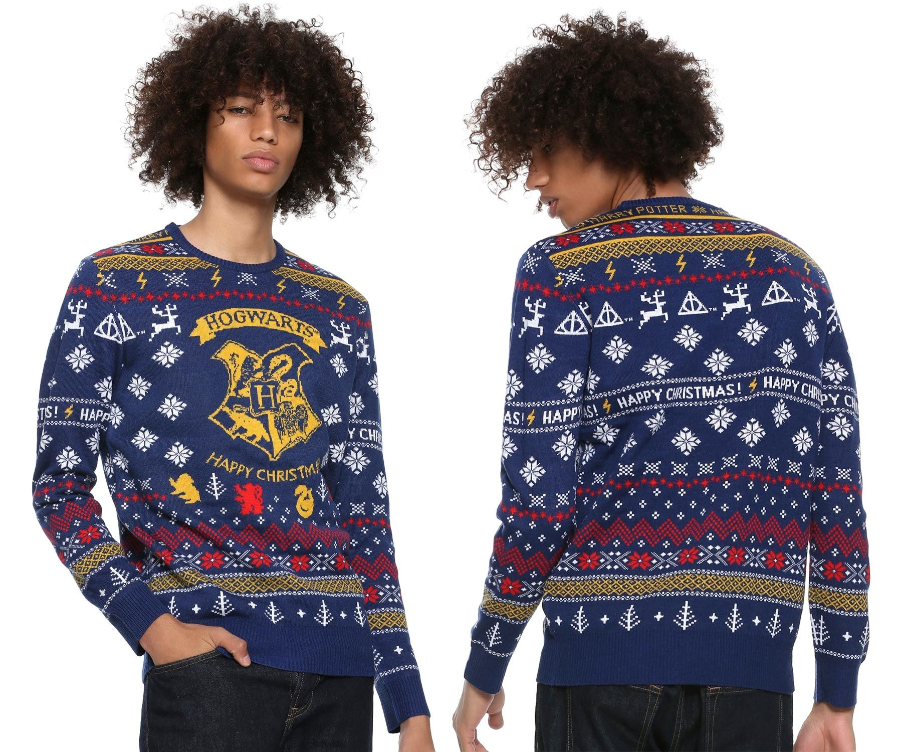 Hogwarts Harry Potter Happy Christmas AOP Knitted Ugly Sweater