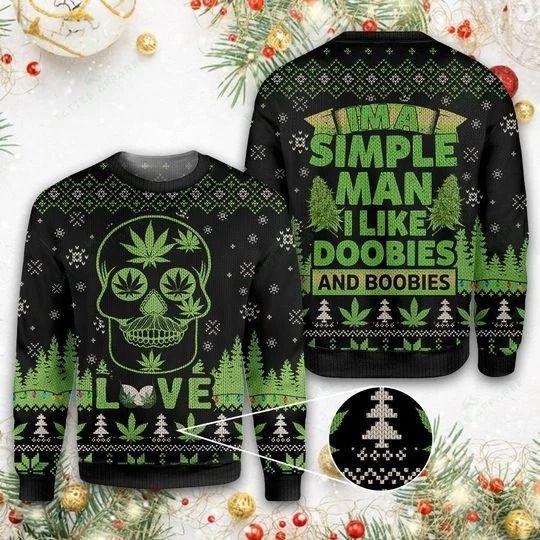 Skull Lover A Simple Man I like doobies Ugly Christmas Sweaters