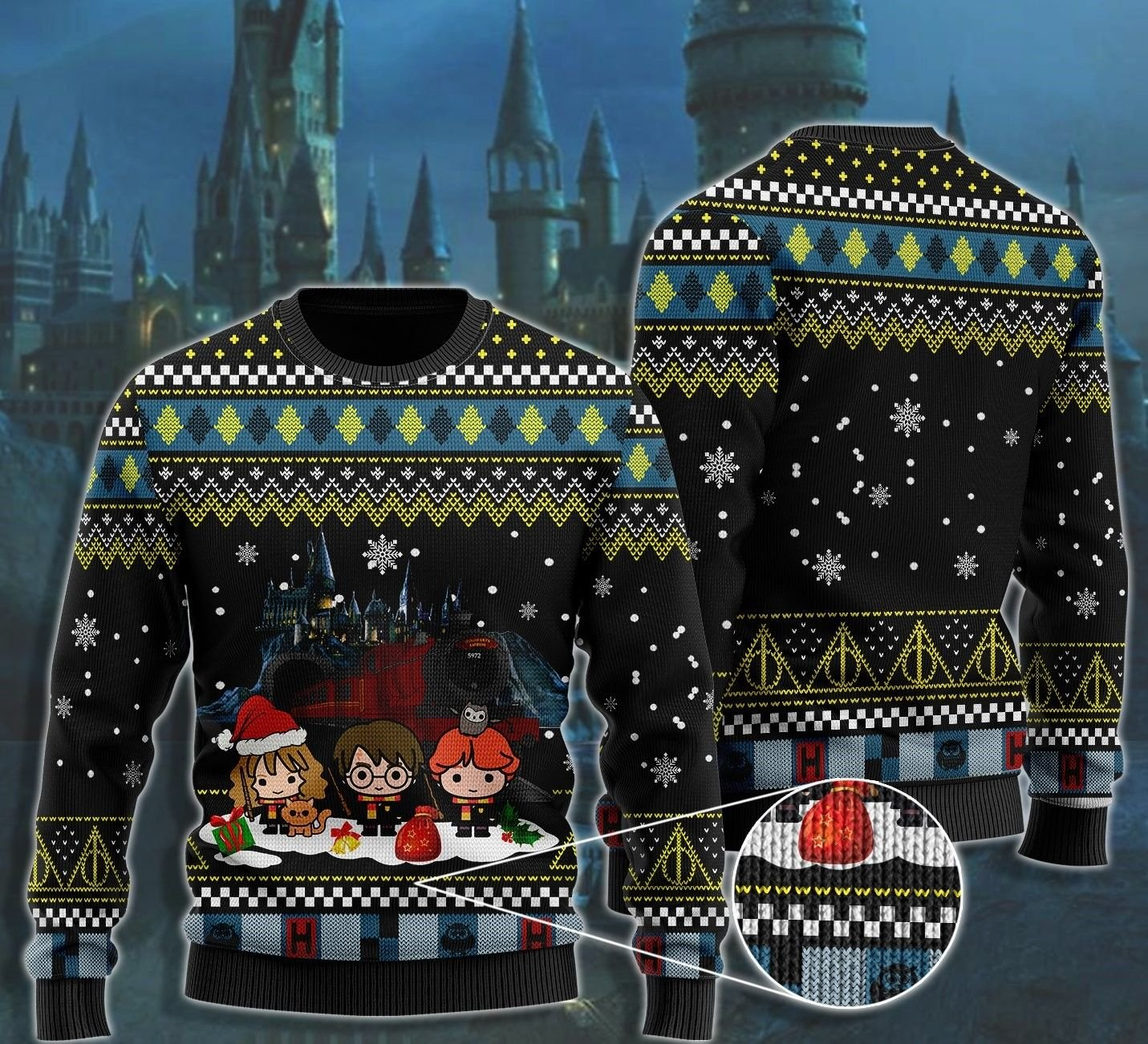 Harry Potter Ron Hermione Friend cartoon Ugly Christmas Sweater