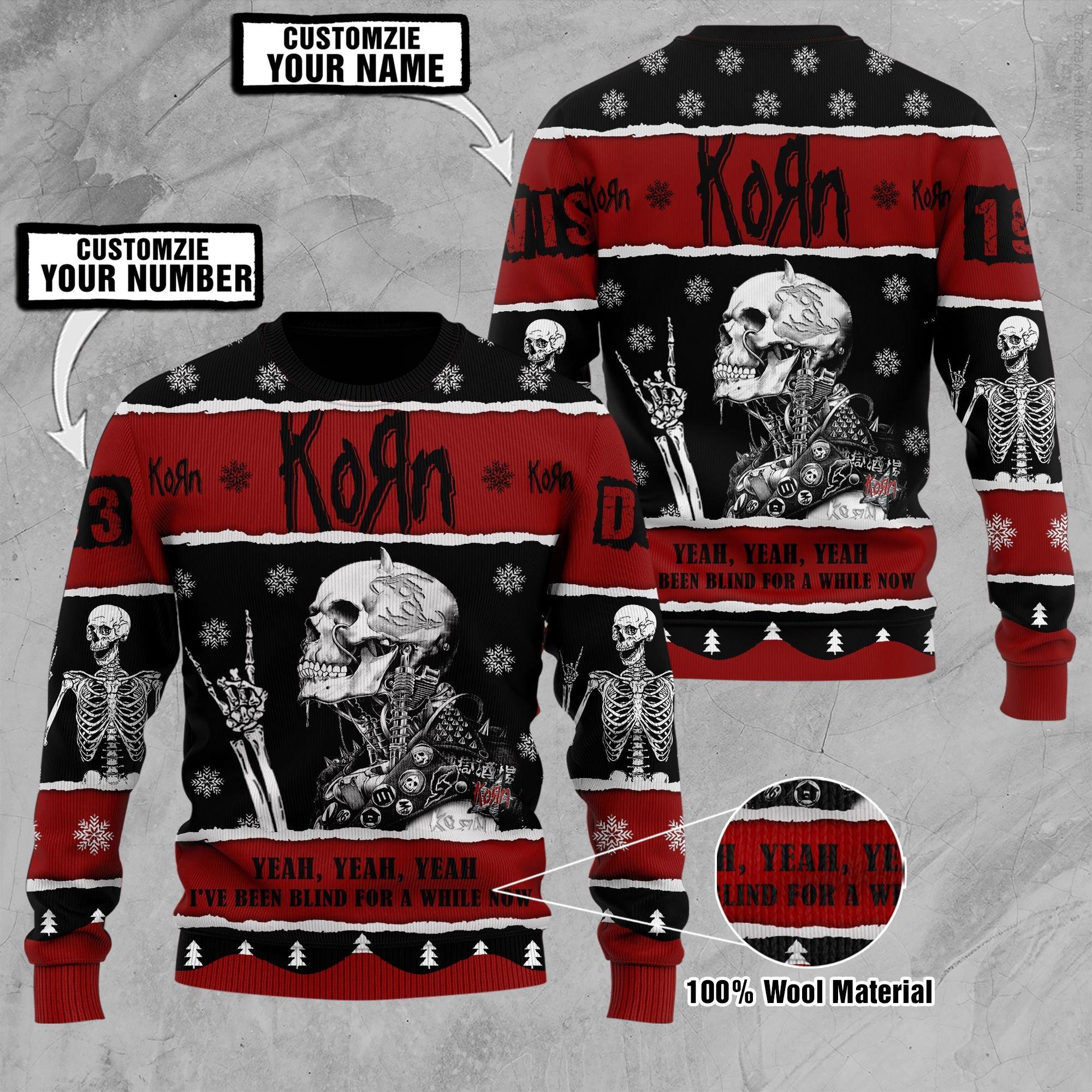 Custom Name Number Korn skeleton ugly sweater