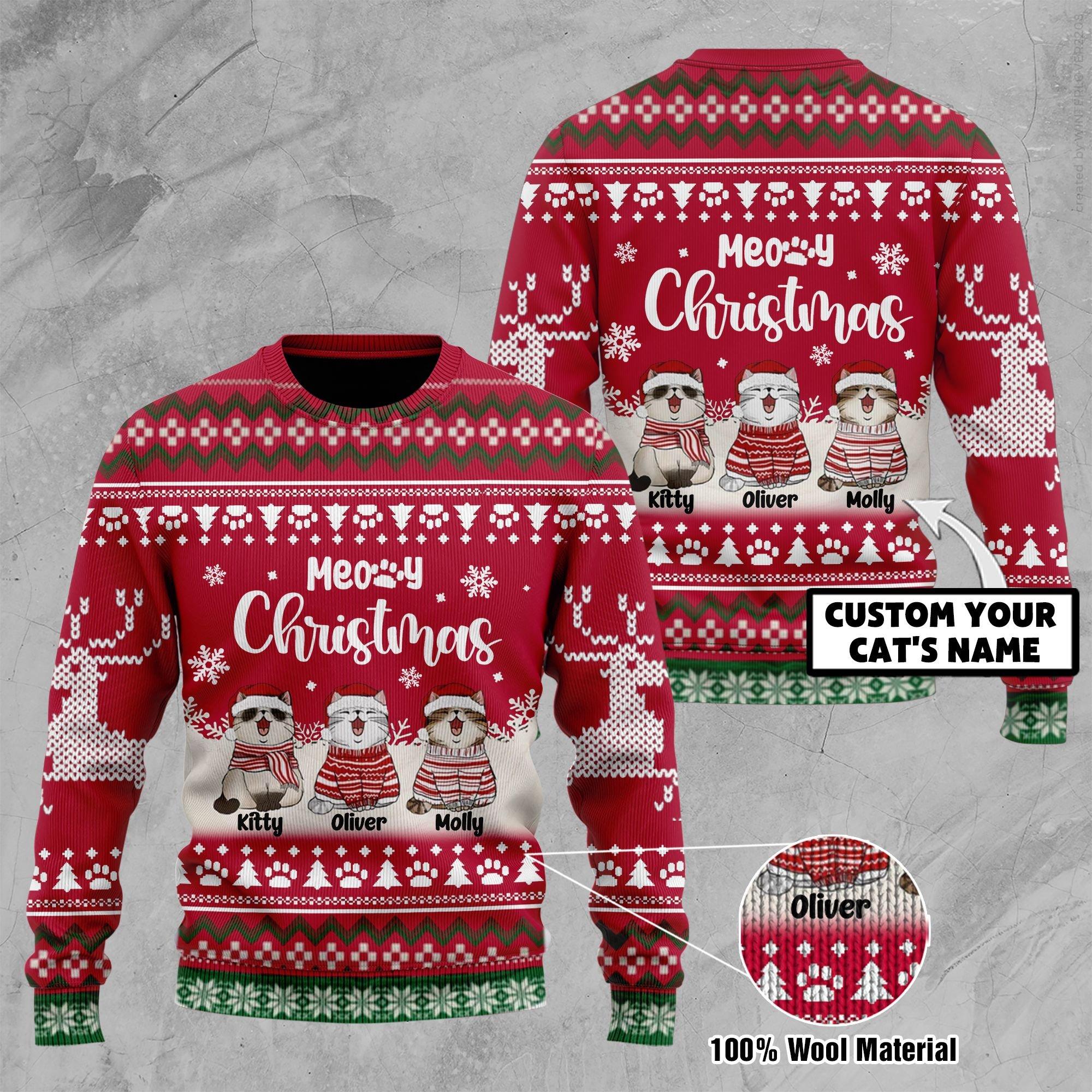 Custom Cat Name Meory Christmas Ugly Sweater
