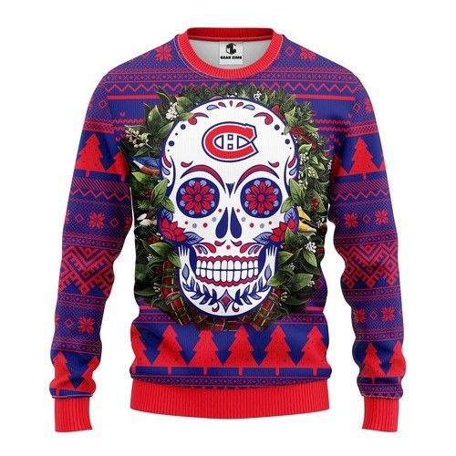 NHL Montreal Canadiens skull Ugly Christmas Sweater