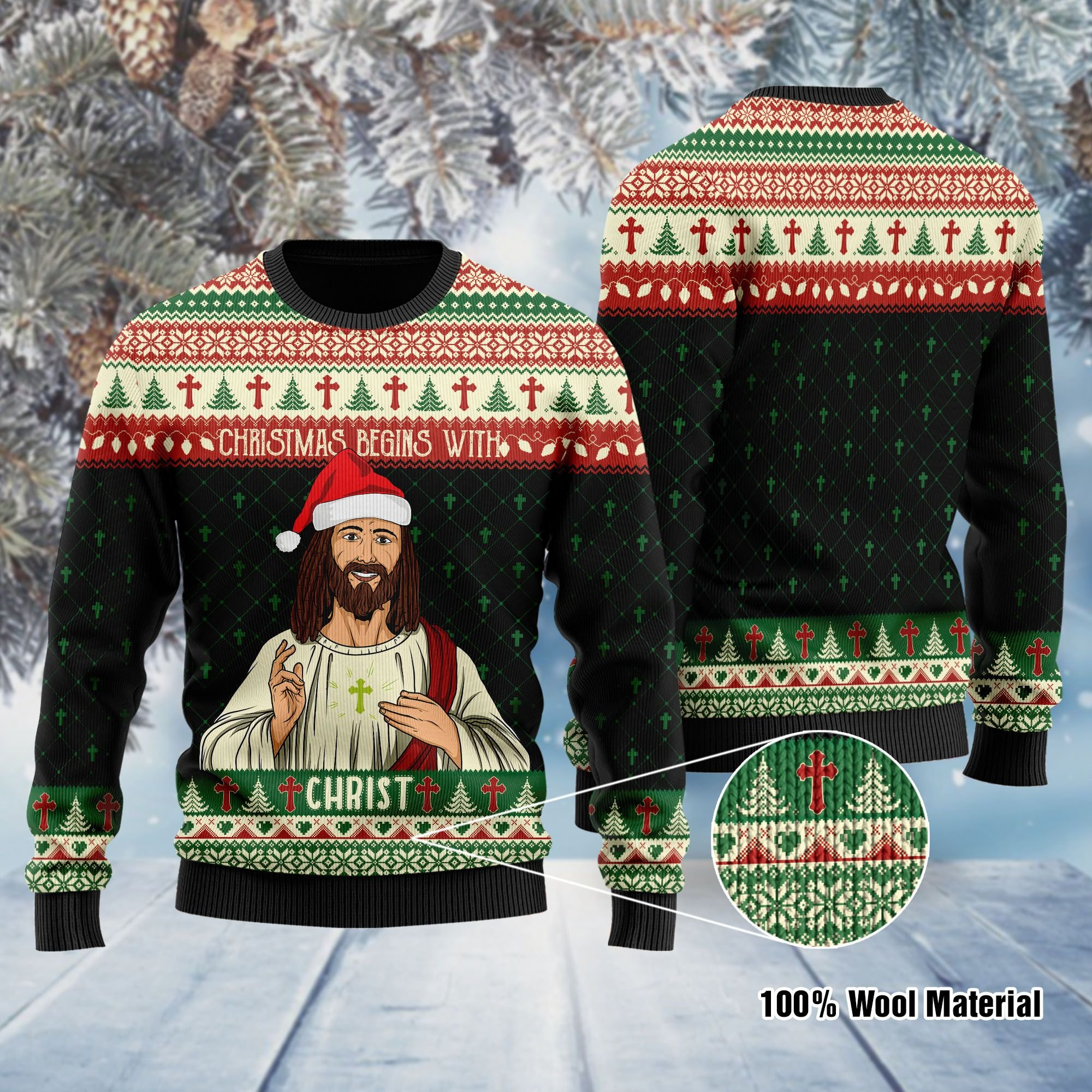 Christmas Begins With Christ Jesus Ugly Sweater