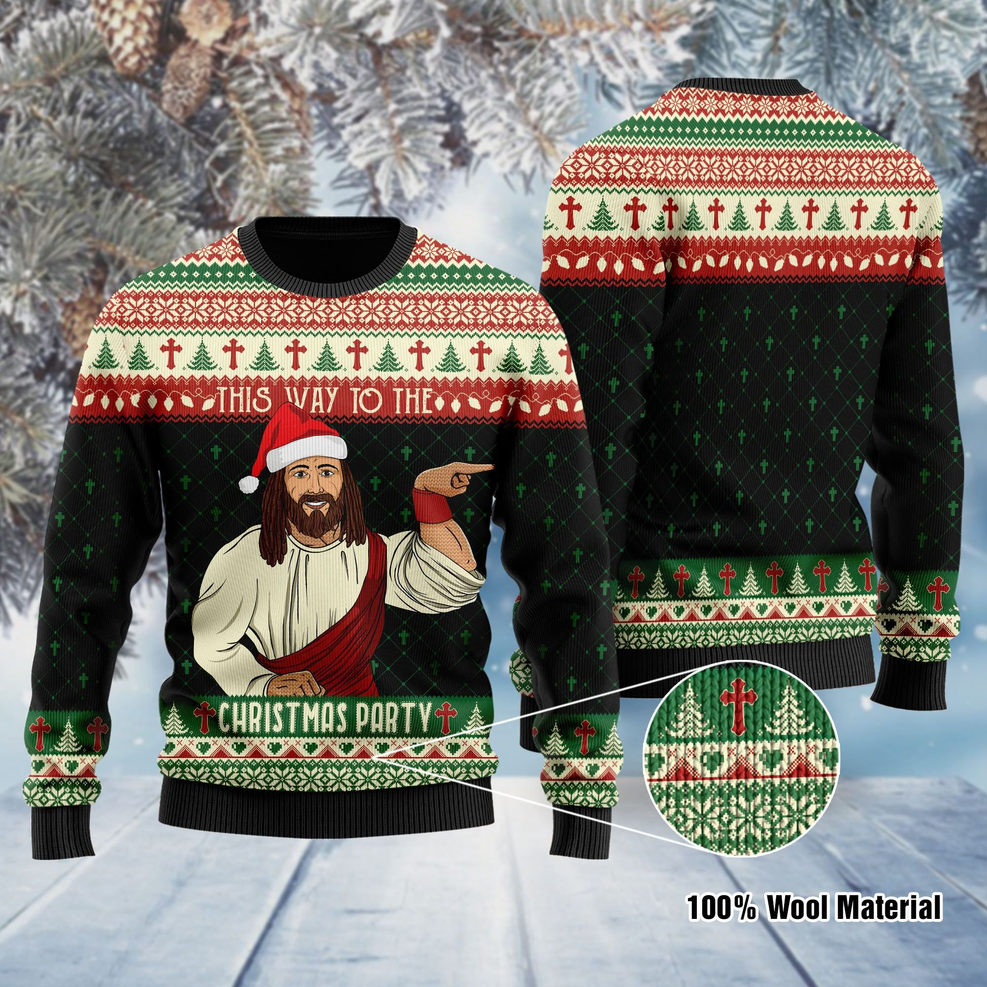 This Way To The Christmas Party Jesus Ugly Sweater