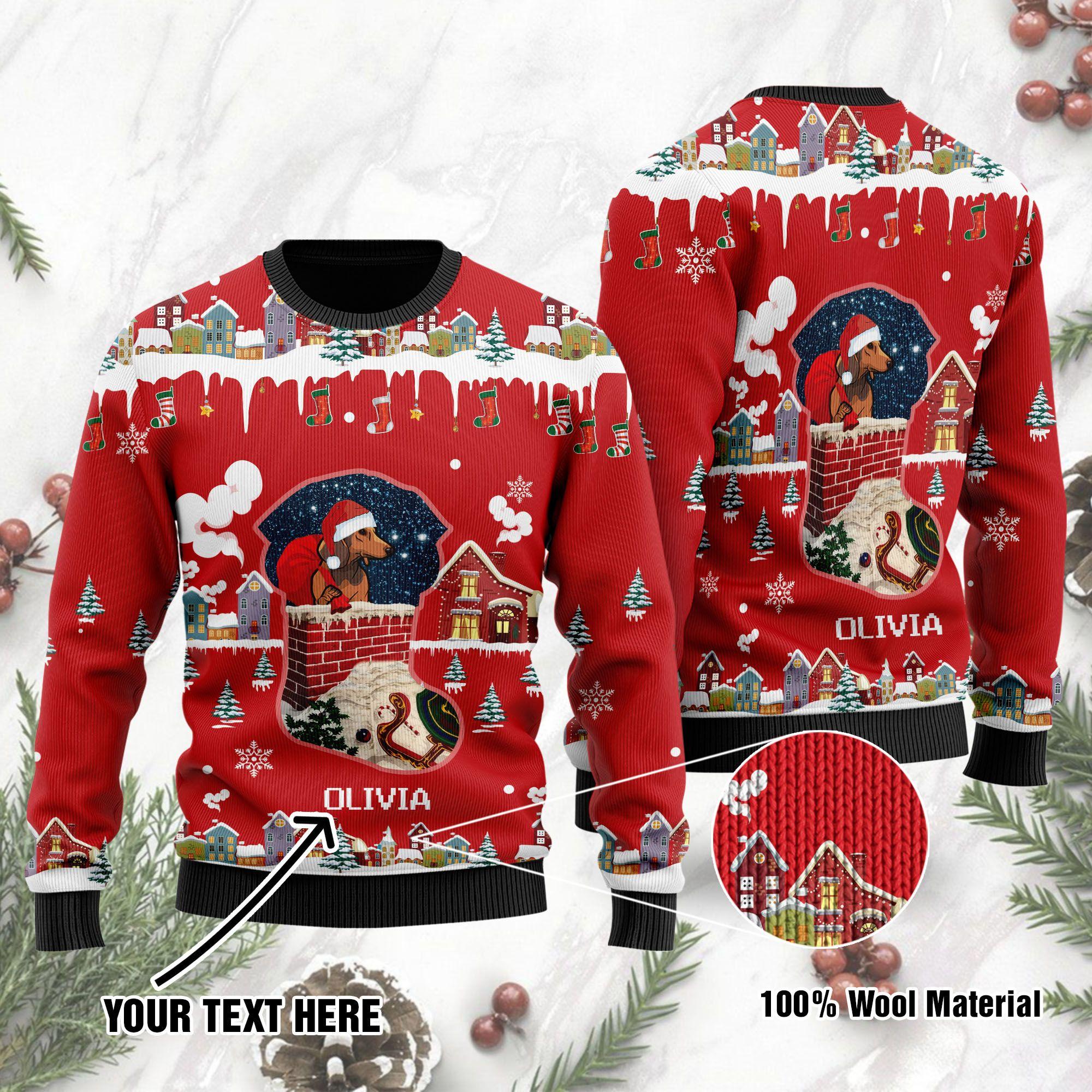 Custom Name Funny Dachshund Santa Claus Ugly Sweater