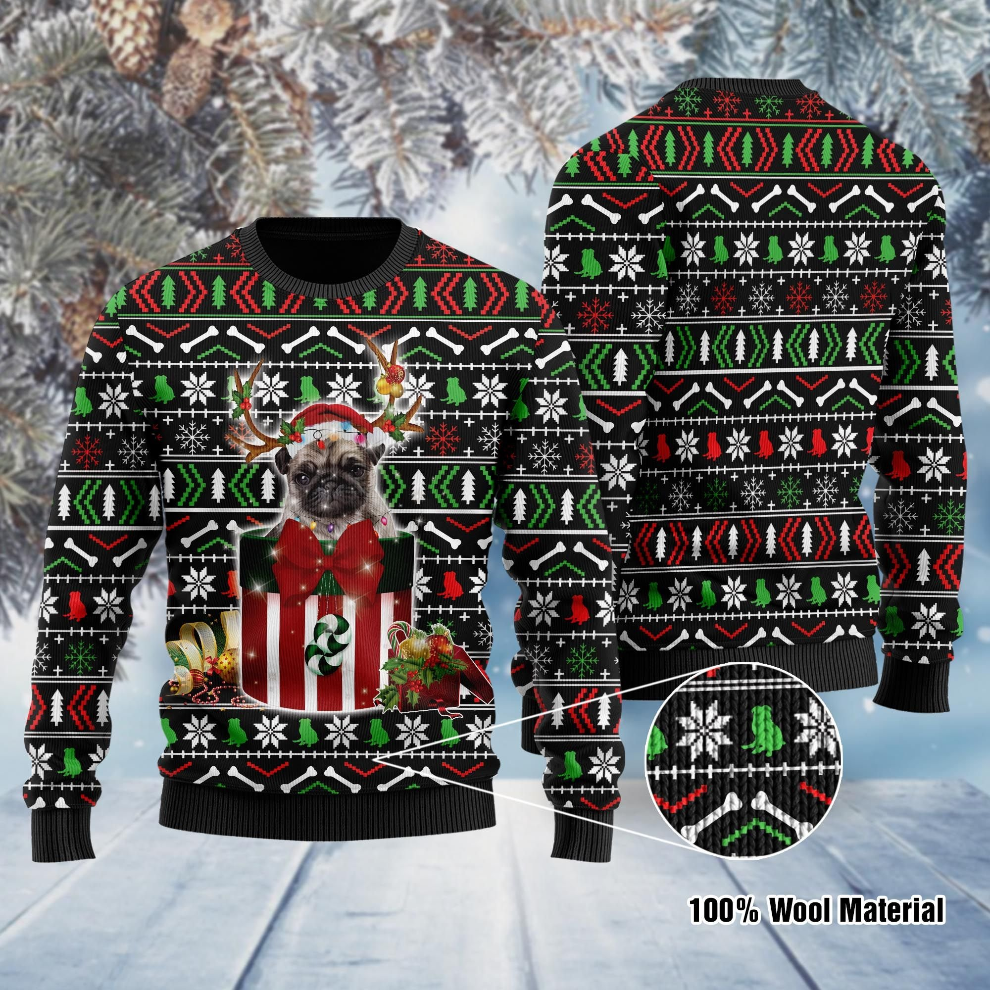 Funny Pug In The Gift Box Ugly Sweater