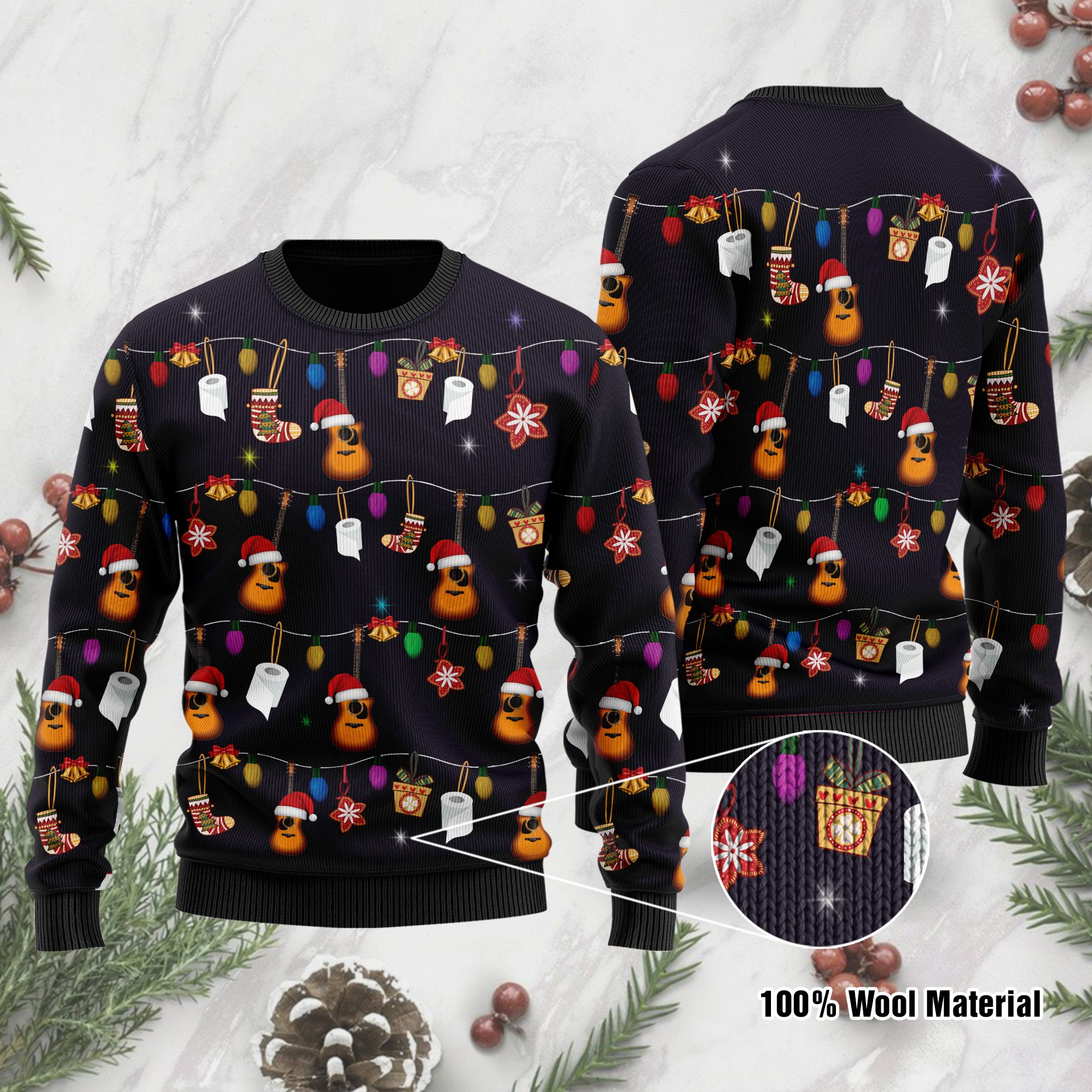 Christmas Guitar Ugly Sweater For Guitar Lovers