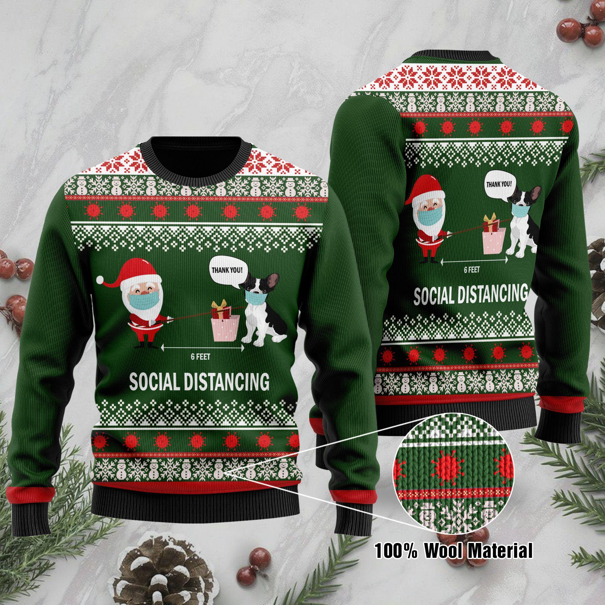 6 Feet Social Distancing French Bulldog And Santa Claus Ugly Sweater