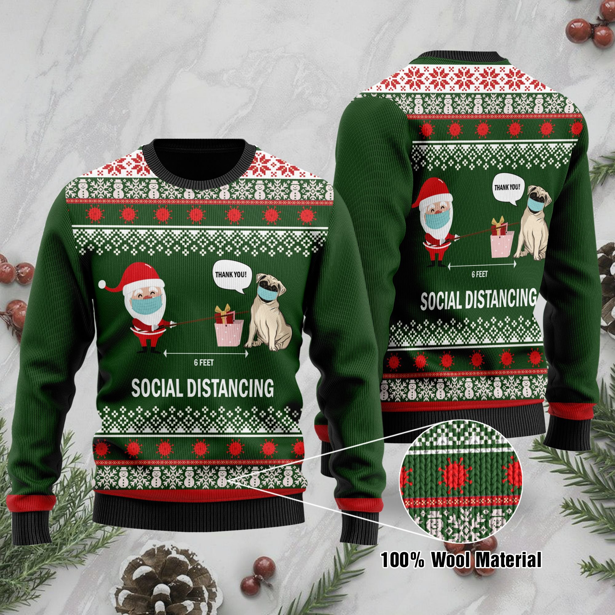 6 Feet Social Distancing Pug And Santa Claus Ugly Sweater