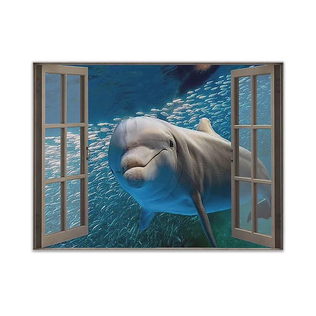 Dolphin Hello Window Style Limited Horizontal Poster Canvas
