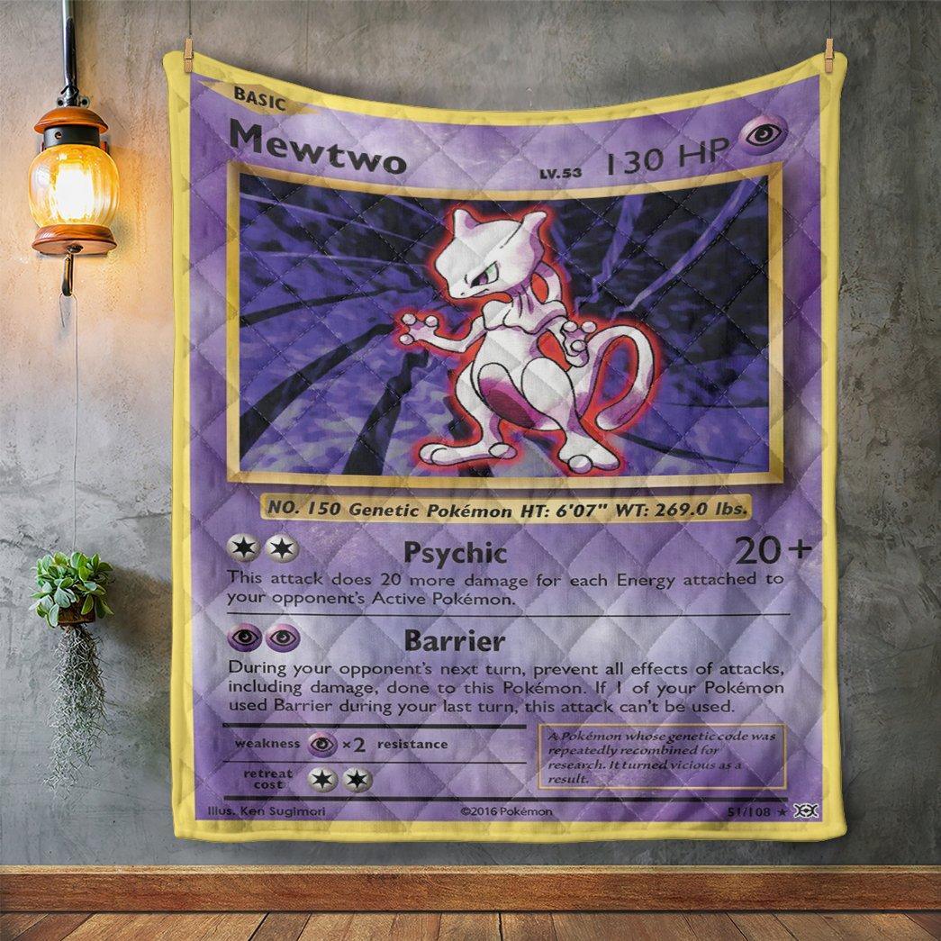 Anime Pokemon Mewtwo Evolutions Quilt Blanket