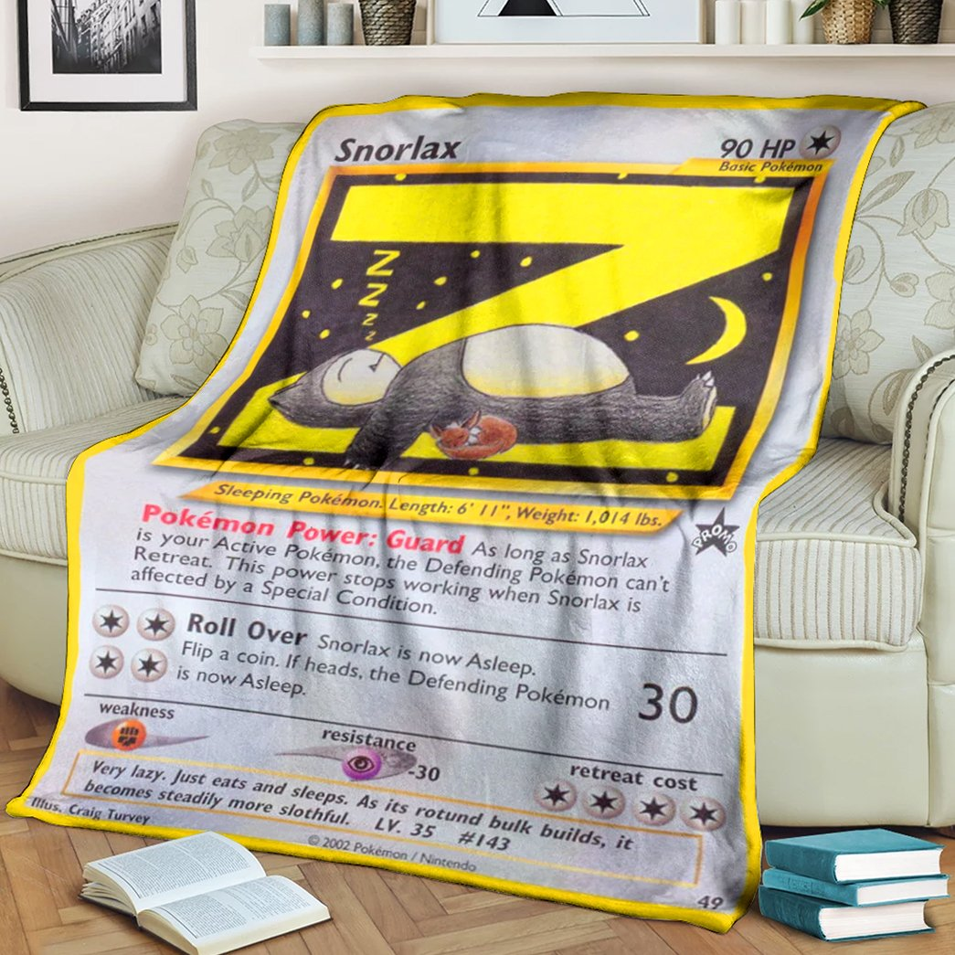 Anime Pokemon lazy Snorlax sleeping Fleece Blanket