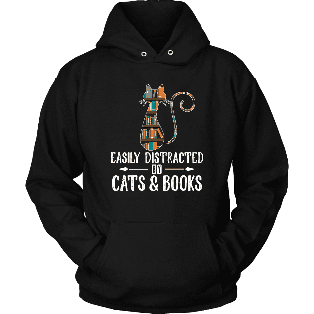Cats and Books Easily distracted Hoodie 2D
