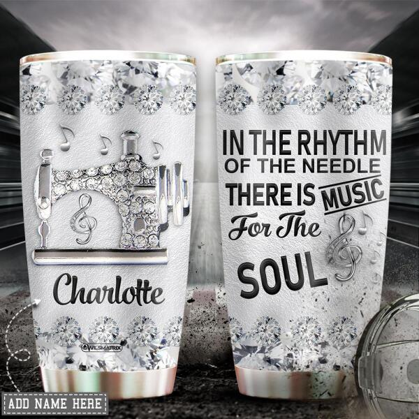 Personalized sewing love music Tumbler