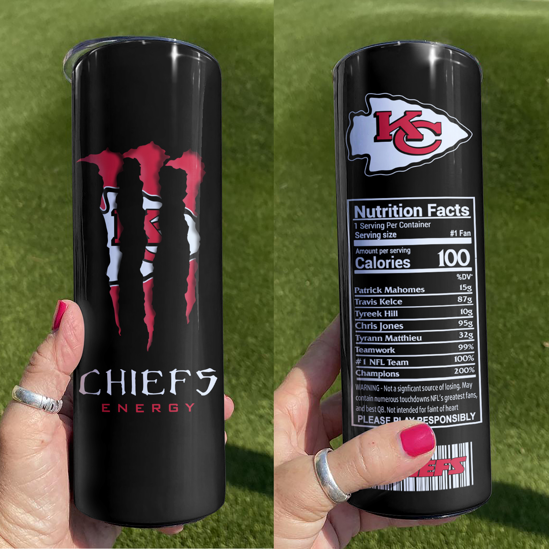 NFL Kansas City Chiefs Monster Energy Skinny Tumbler Cup