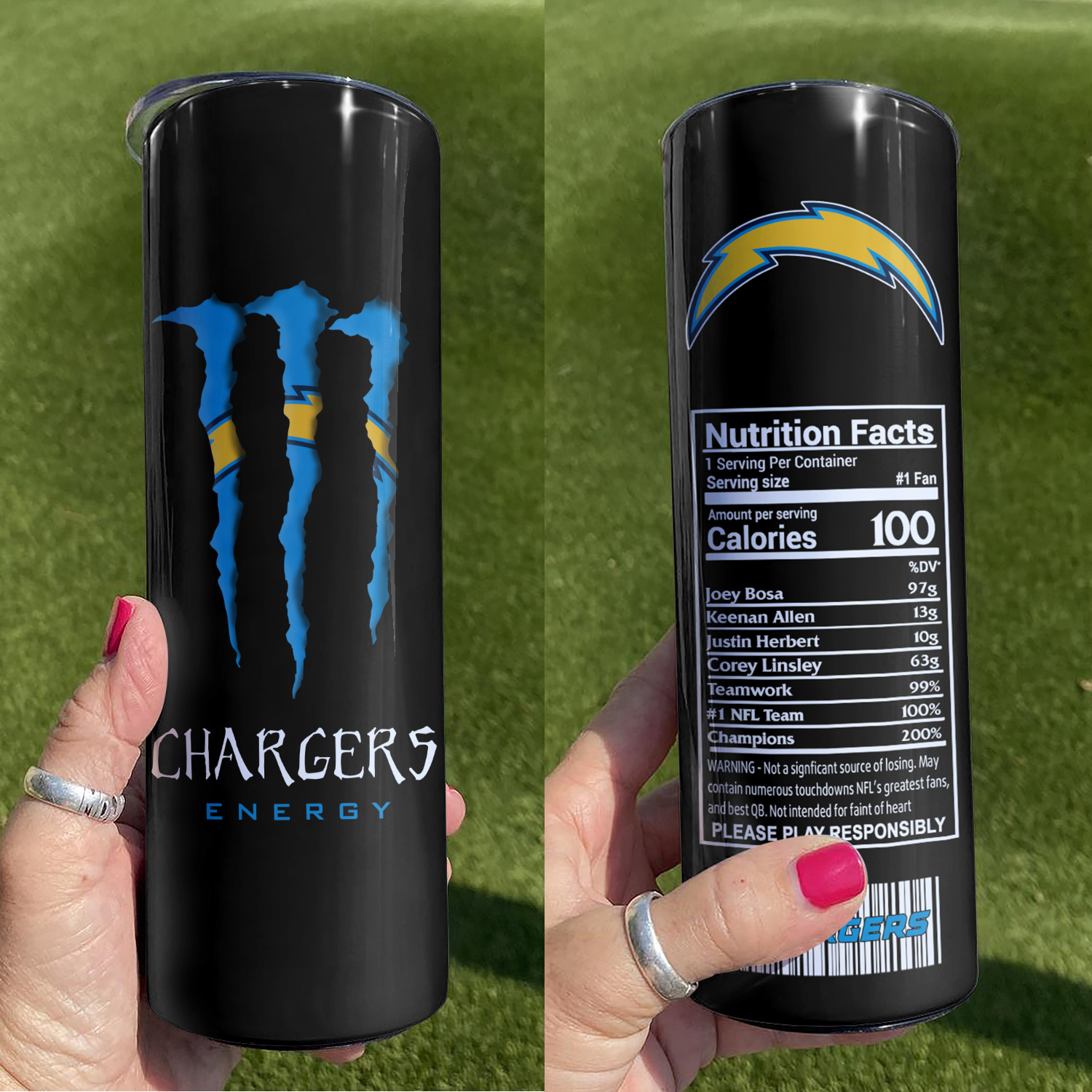 NFL Los Angeles Chargers Monster Energy Skinny Tumbler Cup