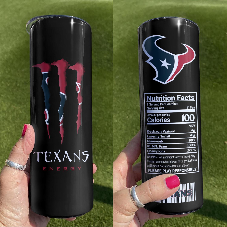NFL Houston Texans Monster Energy Skinny Tumbler Cup