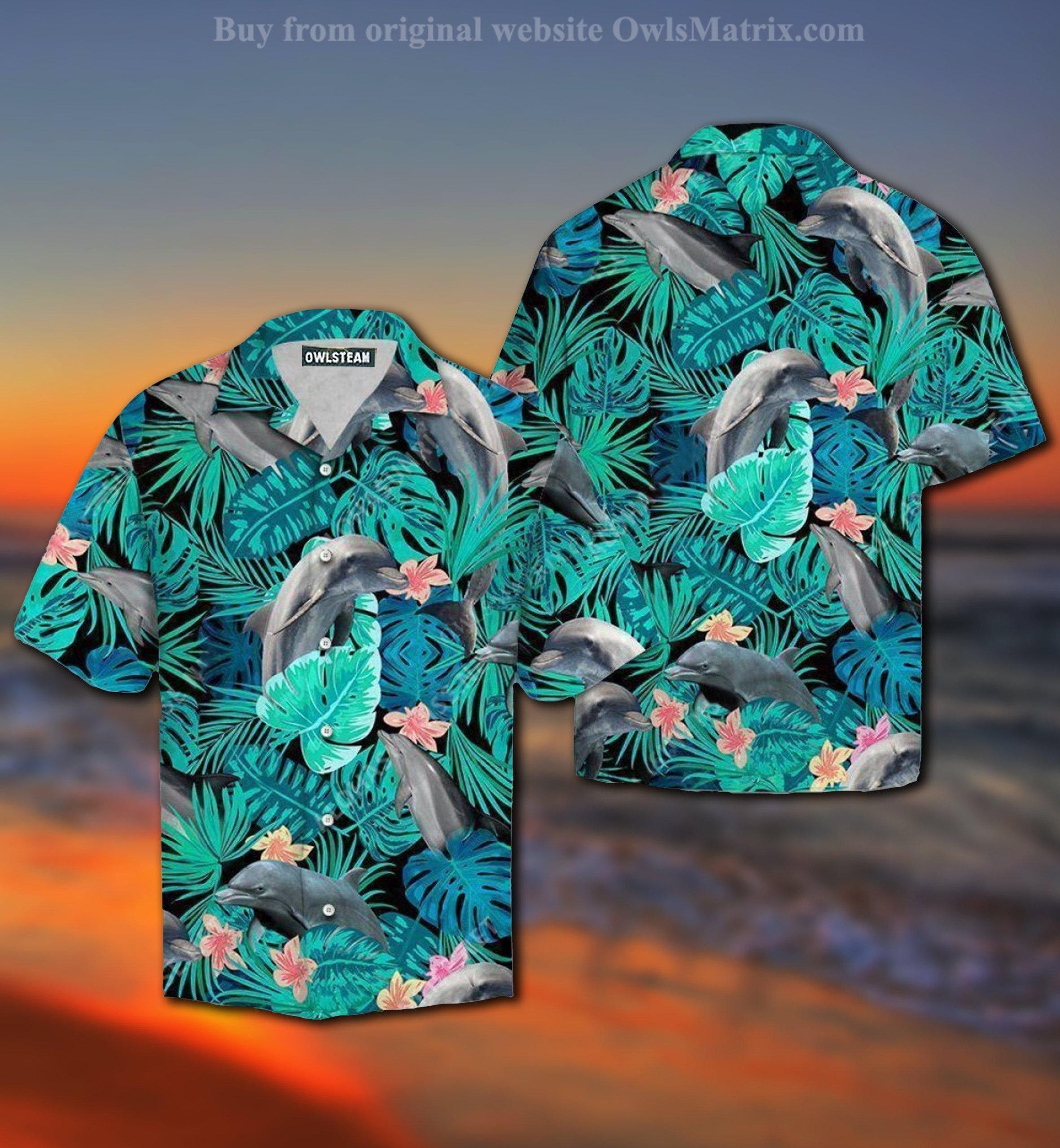 Dolphin Tropical Forest Hawaiian Shirt