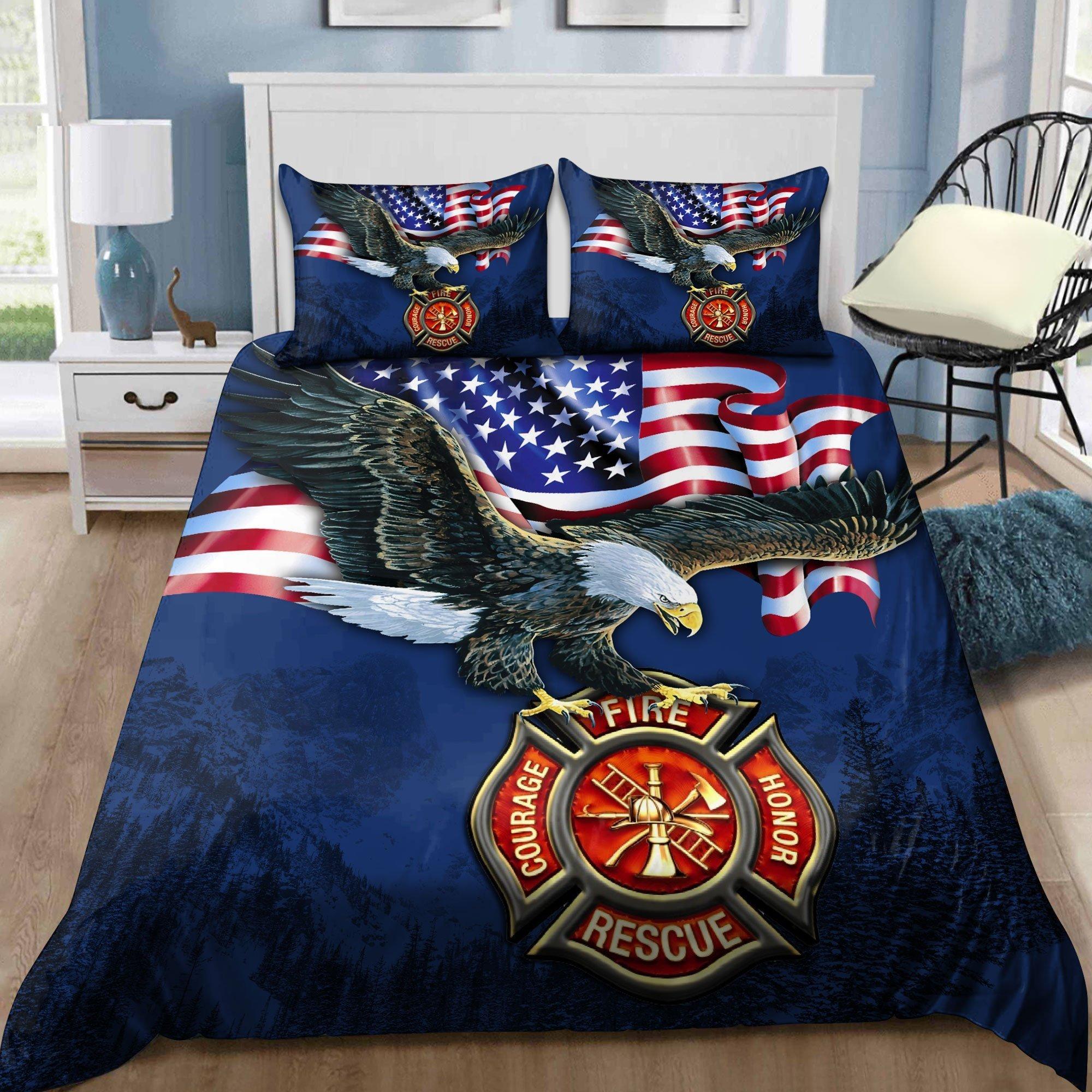 Love Firefighter Bedding Set