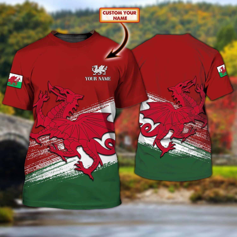 Wales Cymru Personalized Name Red T shirt 3D