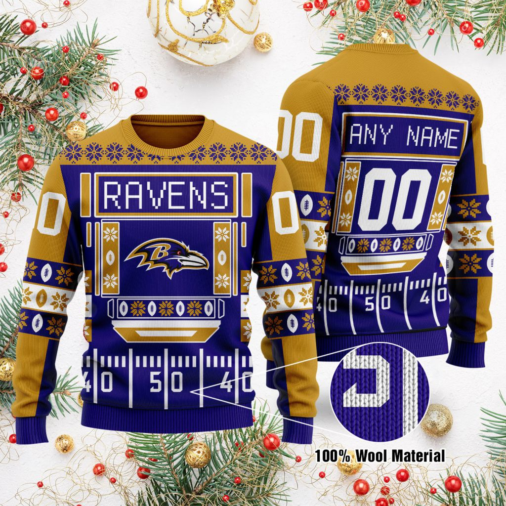 Custom Name Number NFL Baltimore Ravens playing field Ugly Christmas Sweater