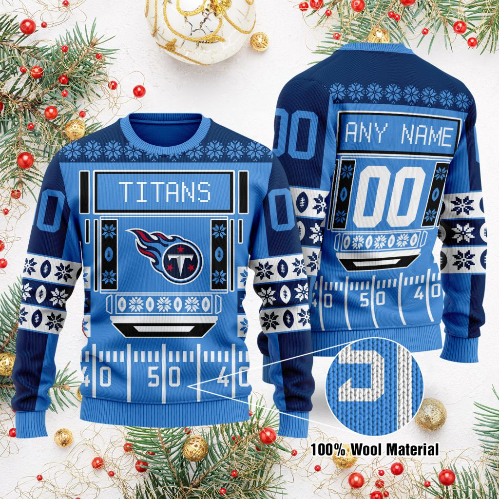 Custom Name Number NFL Tennessee Titans playing field Ugly Christmas Sweater