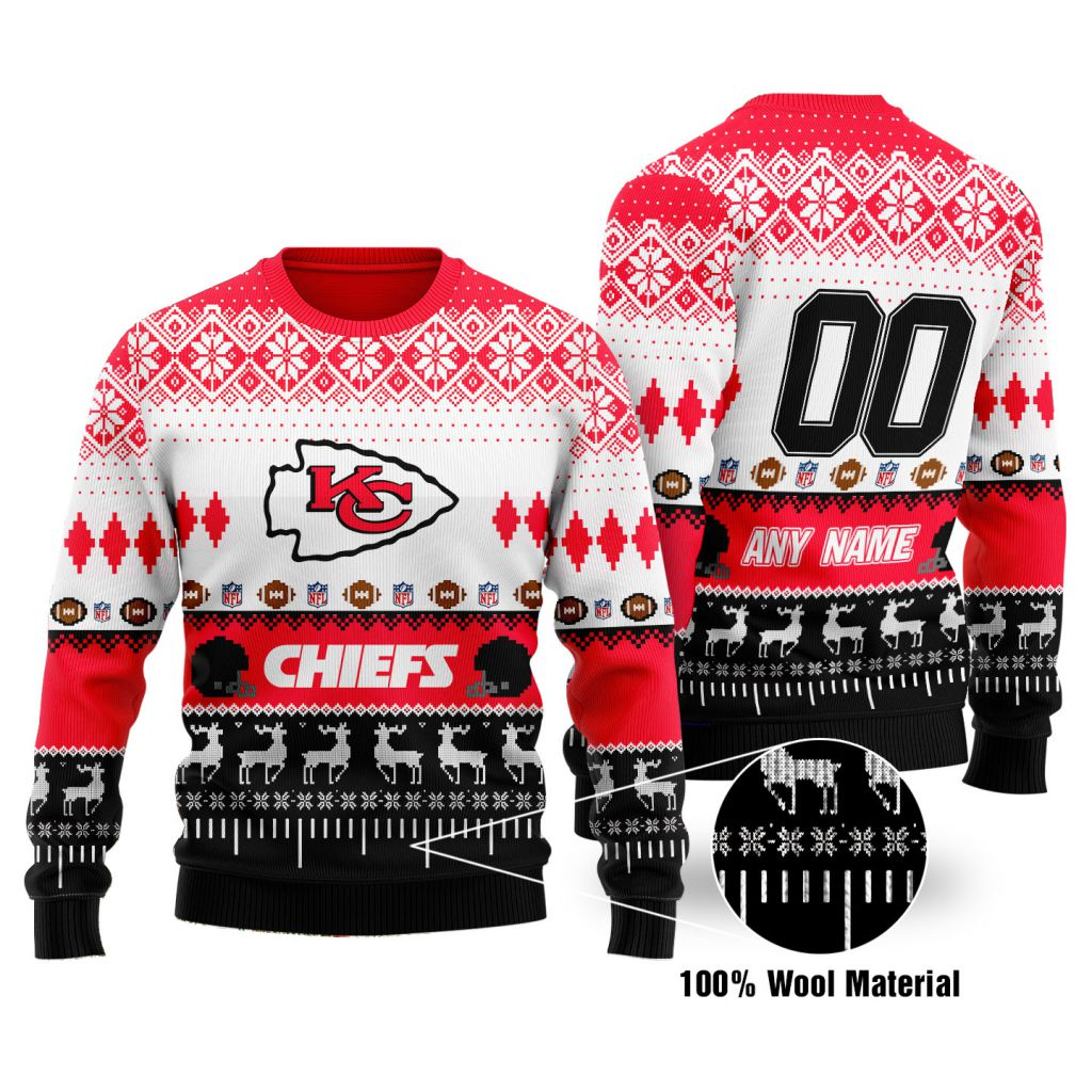 Custom Name Number NFL Kansas City Chiefs playing field Ugly Christmas Sweater