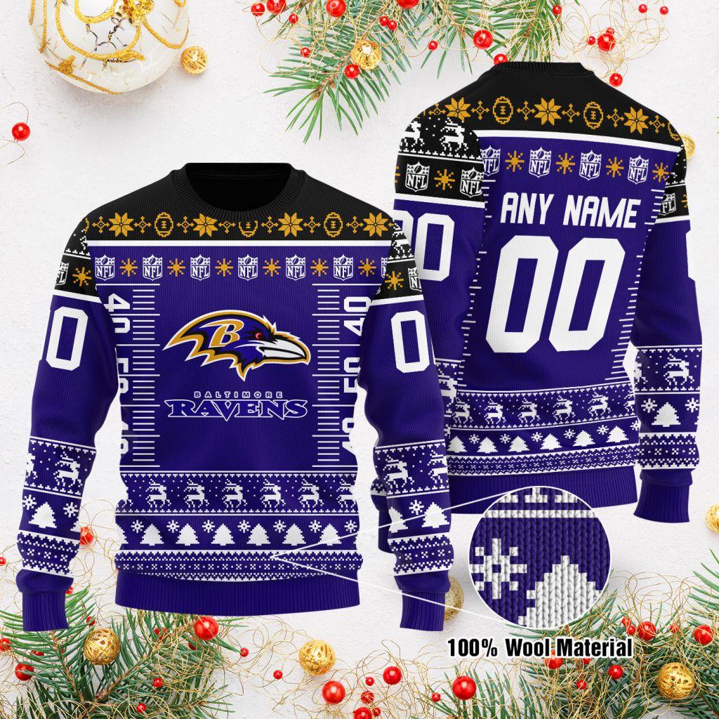Custom Name Number NFL logo Baltimore Ravens Ugly Christmas Sweater