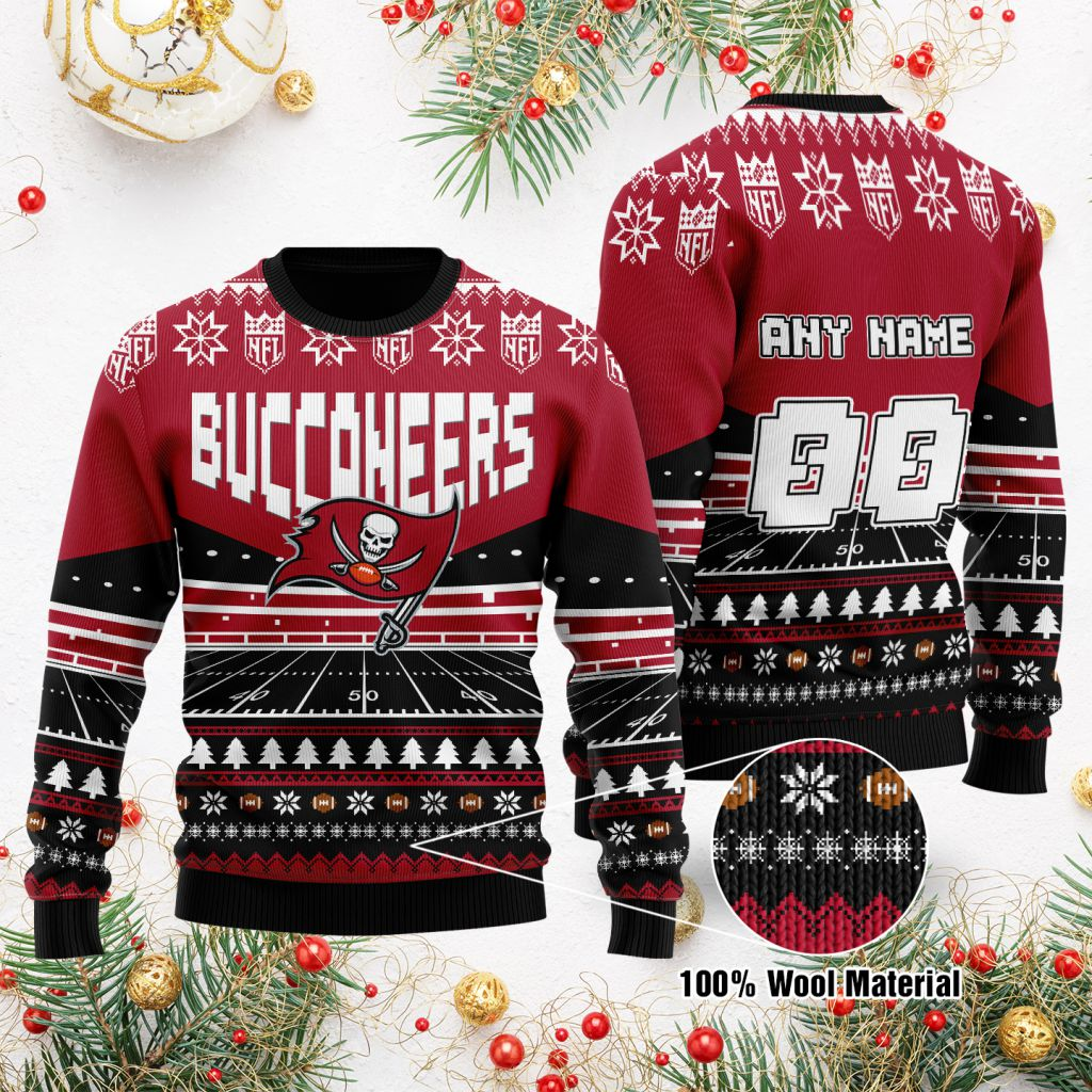 Custom Name Number NFL Tampa Bay Buccaneers rugby stadium ugly Christmas Sweater