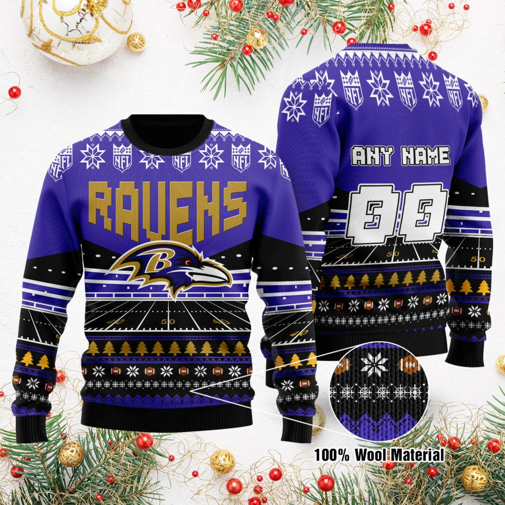 Custom Name Number NFL Baltimore Ravens rugby stadium ugly Christmas Sweater