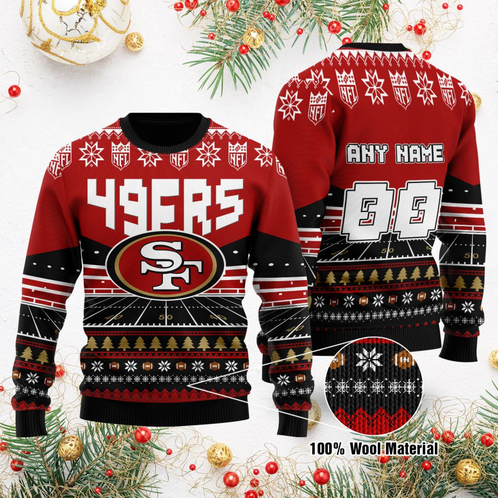 Custom Name Number NFL San Francisco 49ers rugby stadium ugly Christmas Sweater
