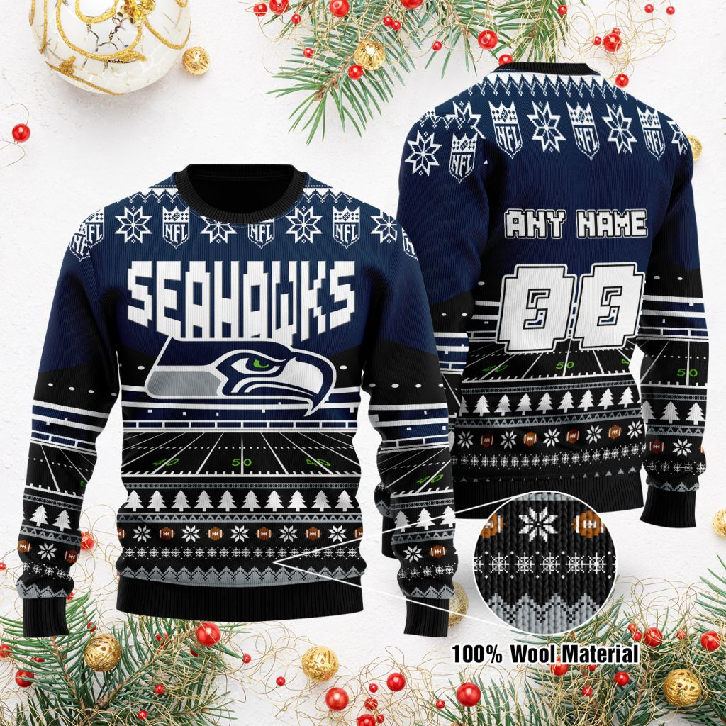 Custom Name Number NFL Seattle Seahawks rugby stadium ugly Christmas Sweater