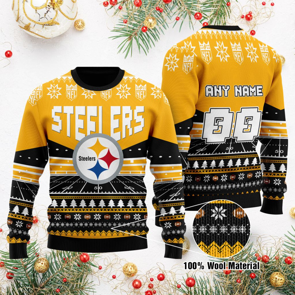Custom Name Number NFL Pittsburgh Steelers rugby stadium ugly Christmas Sweater