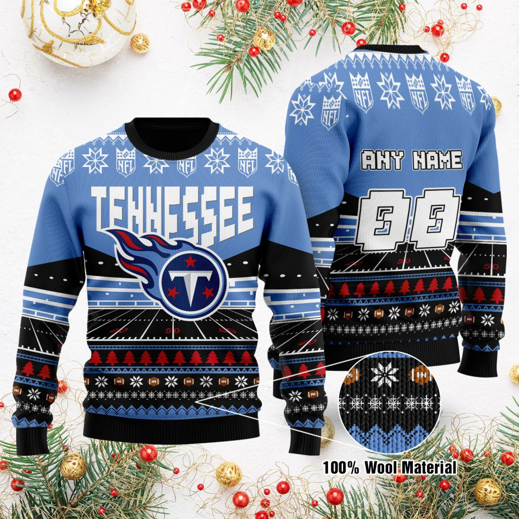 Custom Name Number NFL Tennessee Titans rugby stadium ugly Christmas Sweater