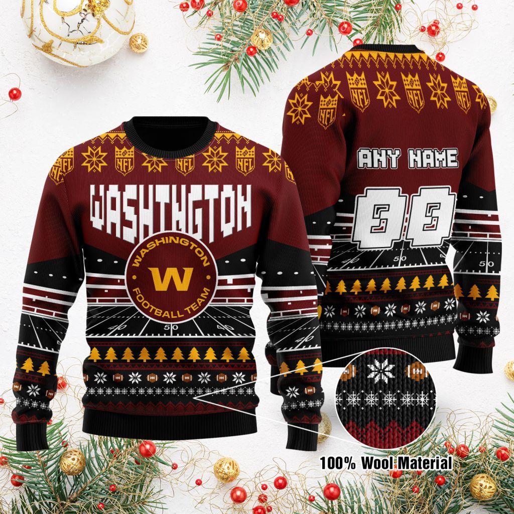 Custom Name Number NFL Washington Football Team rugby stadium ugly Christmas Sweater