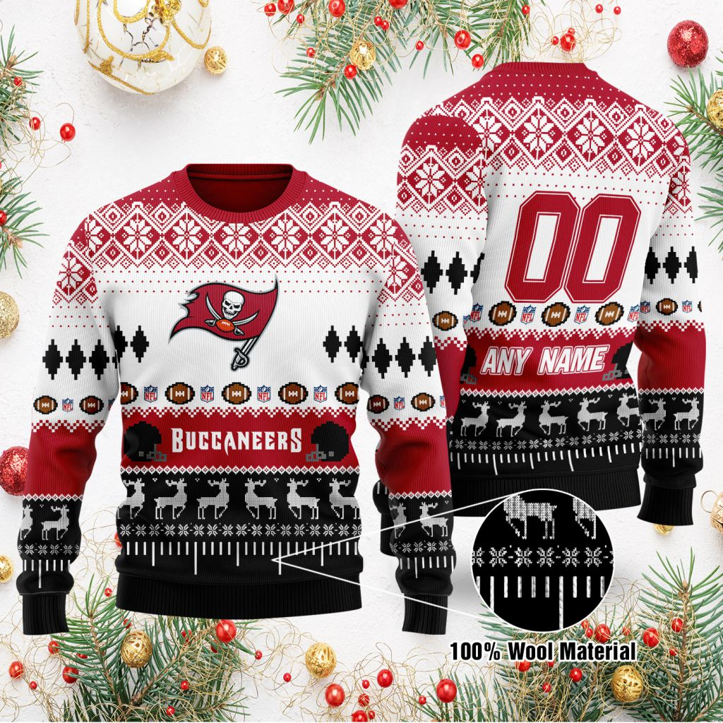 Custom Name Number NFL Tampa Bay Buccaneers playing field Ugly Christmas Sweater