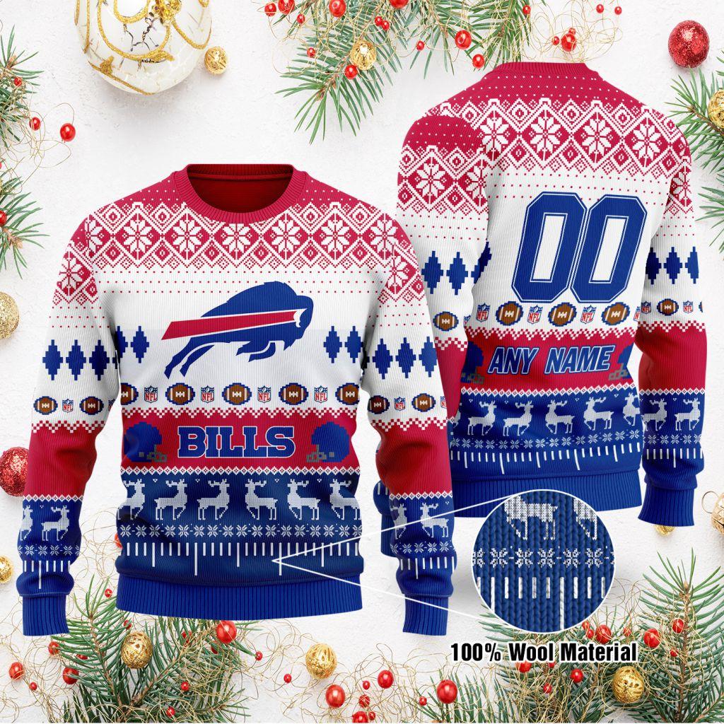 Custom Name Number NFL Buffalo Bills playing field Ugly Christmas Sweater