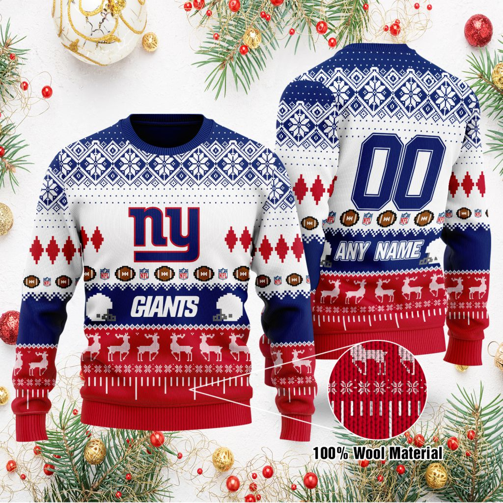 Custom Name Number NFL New York Giants playing field Ugly Christmas Sweater