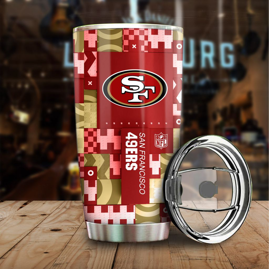 NFL Custom Name San Francisco 49ers tile style Stainless steel Tumbler