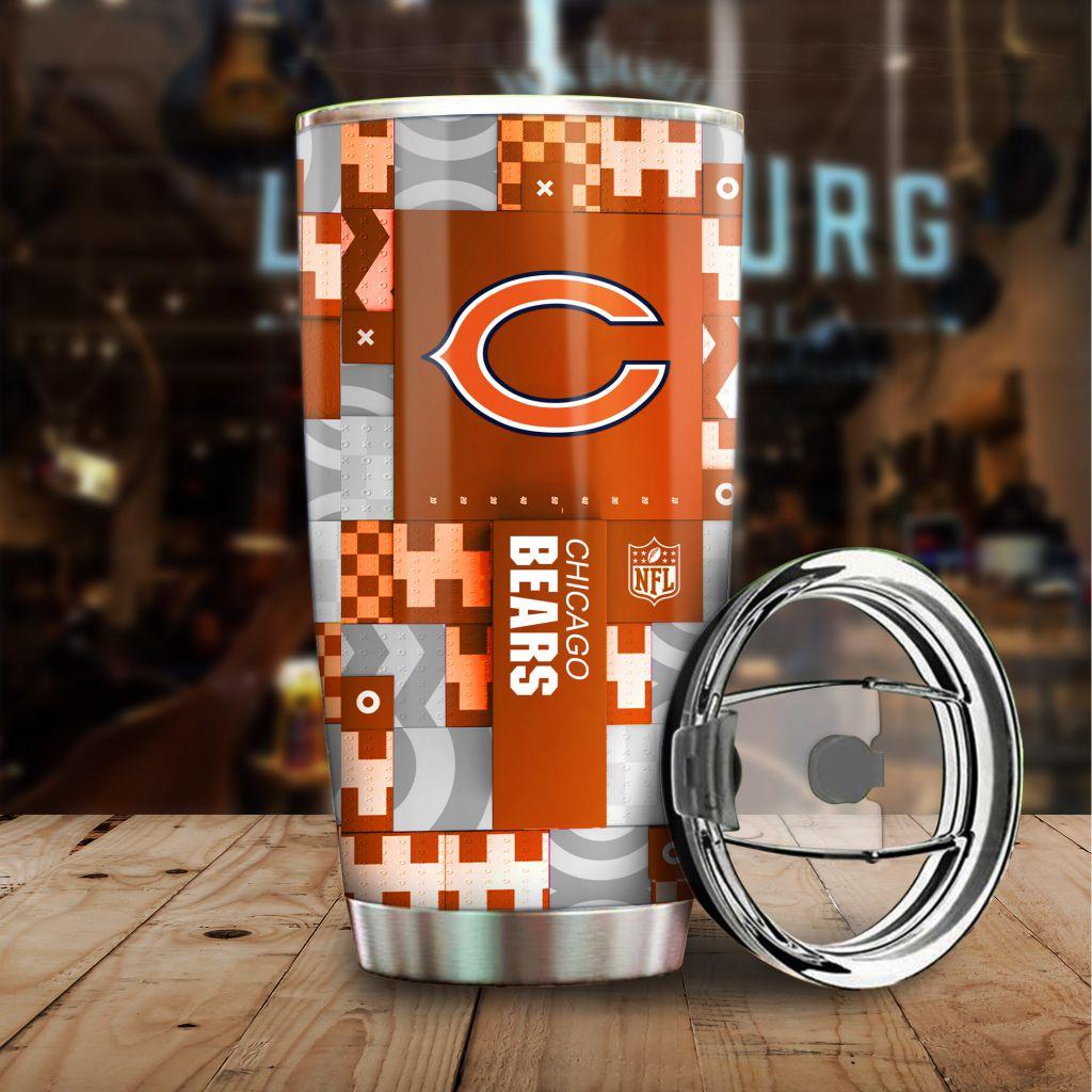 NFL Custom Name Chicago Bears tile style Stainless steel Tumbler