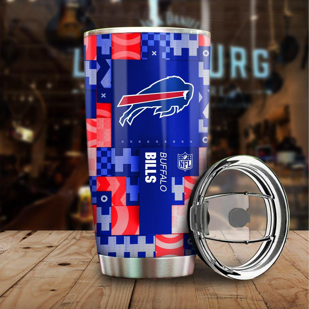NFL Custom Name Buffalo Bills tile style Stainless steel Tumbler