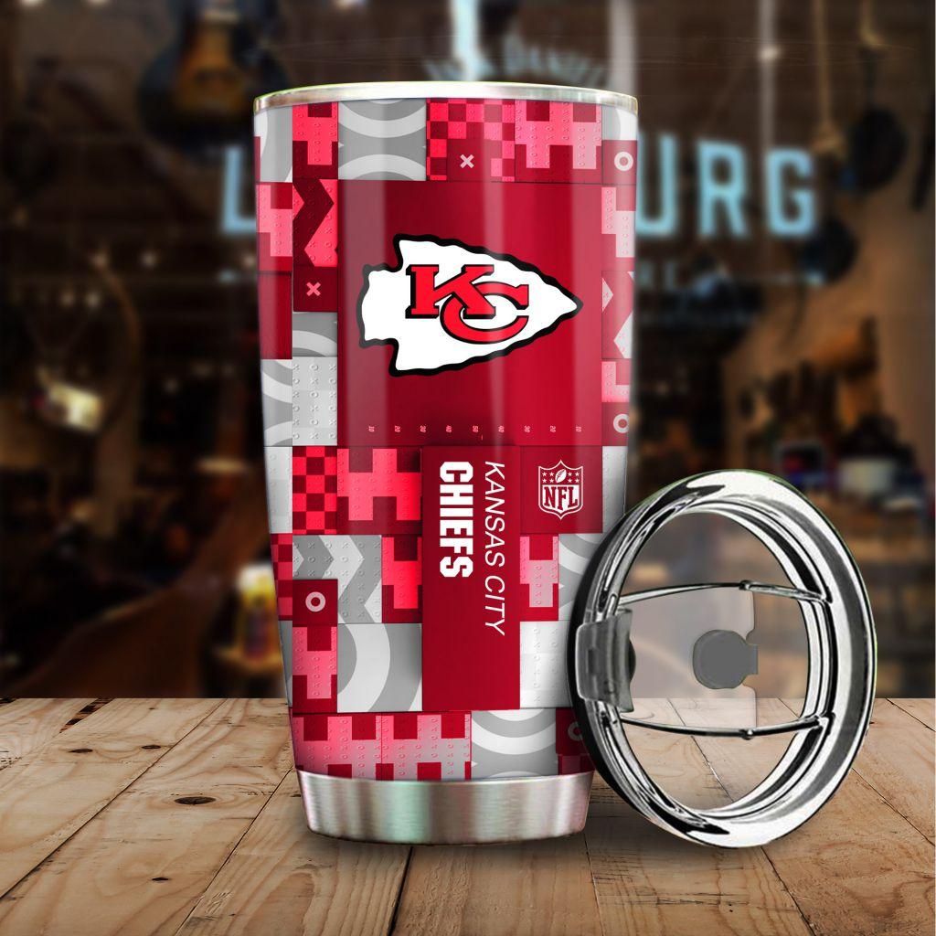 NFL Custom Name Kansas City Chiefs tile style Stainless steel Tumbler