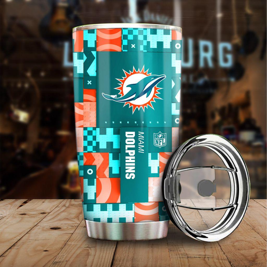 NFL Custom Name Miami Dolphins tile style Stainless steel Tumblerv