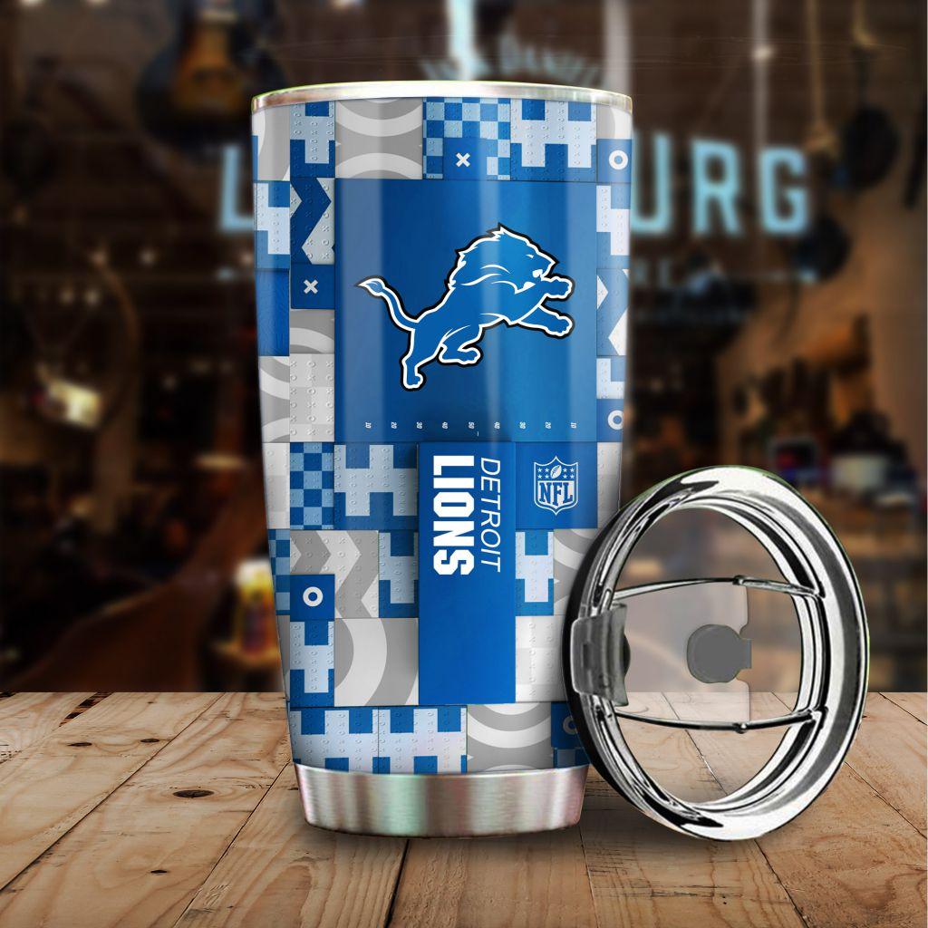 NFL Custom Name Detroit Lions tile style Stainless steel Tumbler